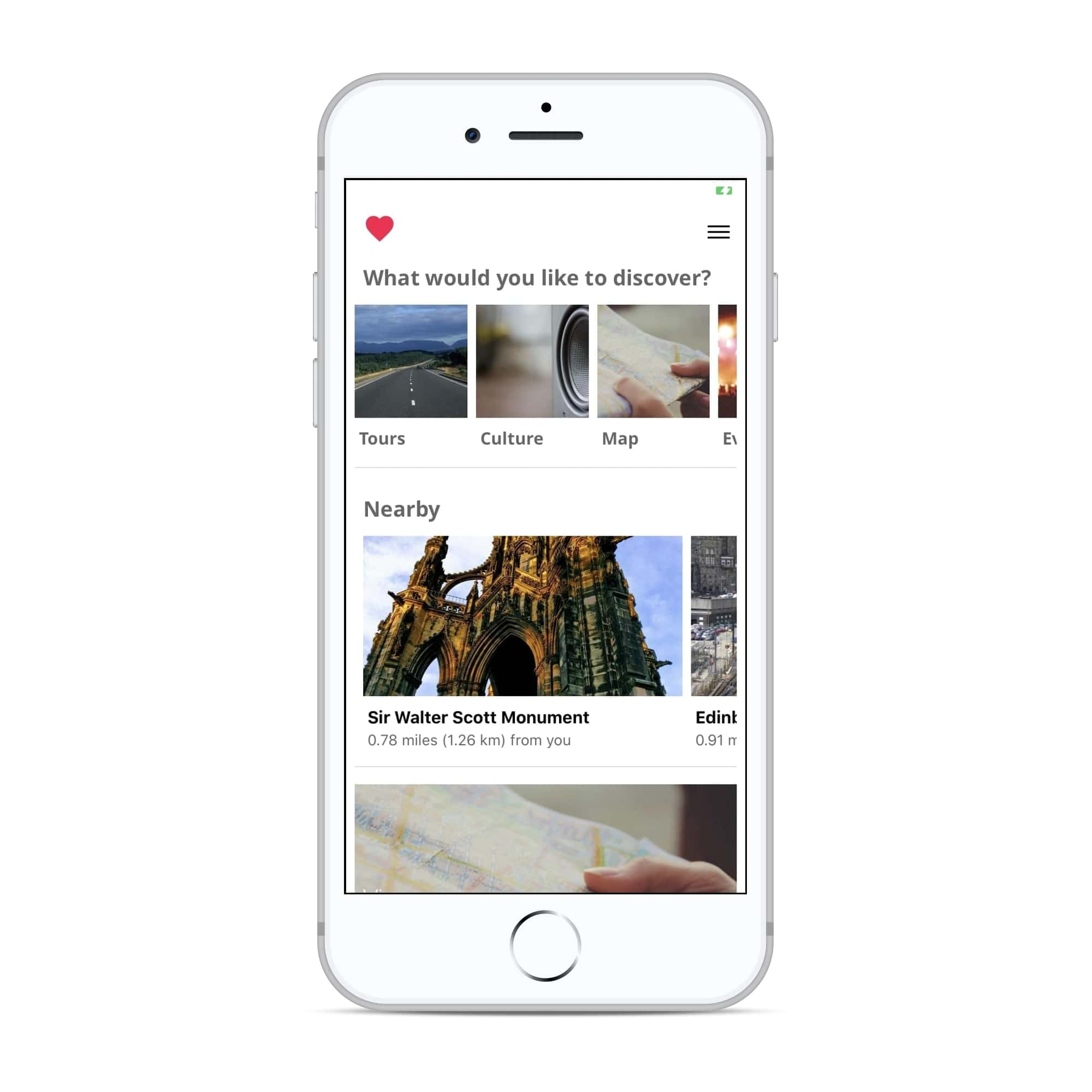 Phone showing app homescreen
