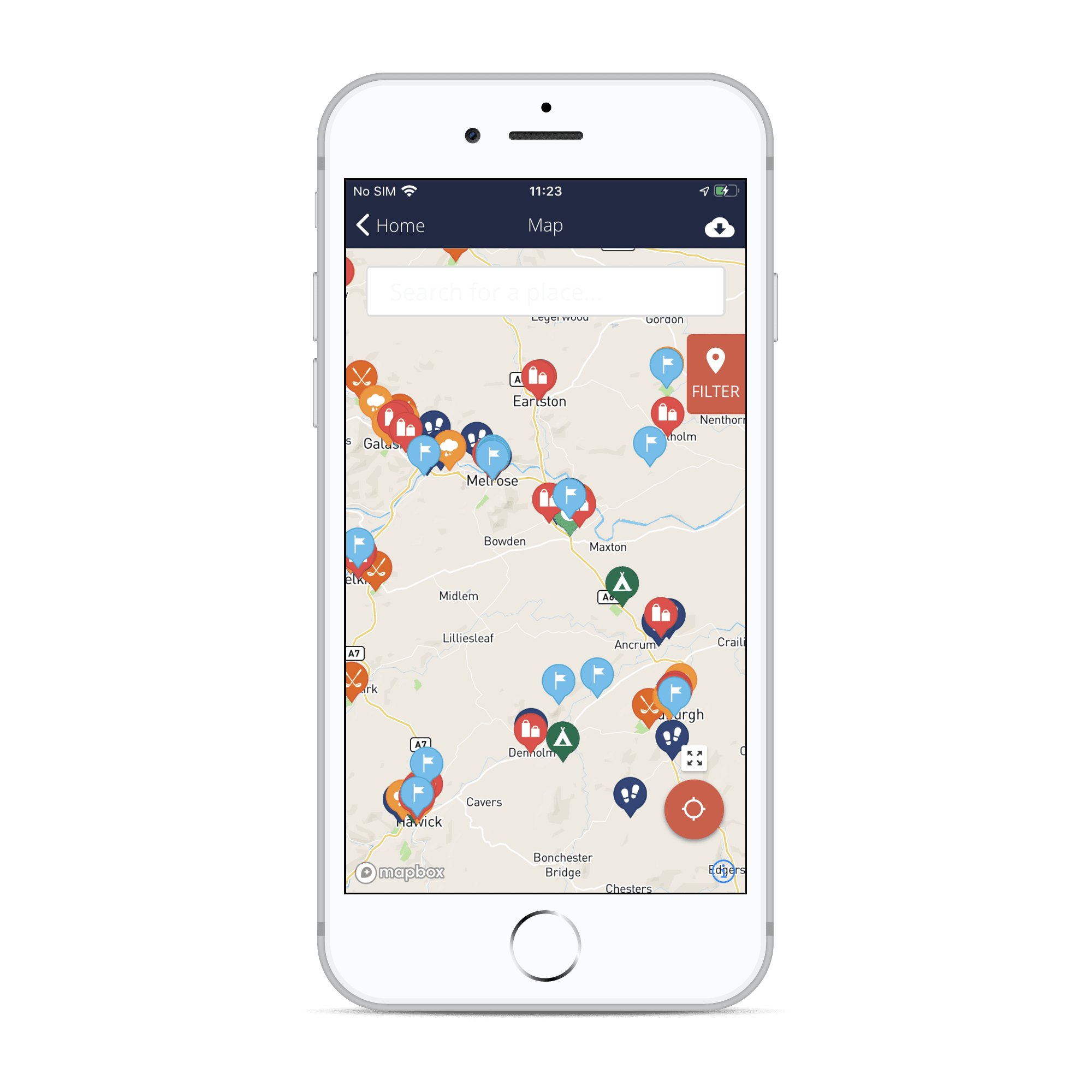 Phone showing app's interactive map